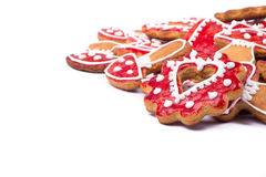 Gingerbread cookies heart. On white Royalty Free Stock Photo
