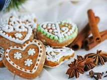 Gingerbread cookies, homemade Christmas biscuits Royalty Free Stock Photos