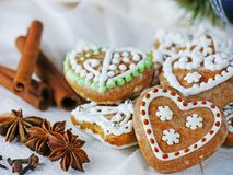 Gingerbread cookies, homemade Christmas biscuits Stock Photos