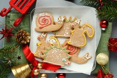 gingerbread cookies with icing. Different animal shapes Stock Images