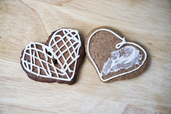 Gingerbread cookies with icing heart shaped Royalty Free Stock Photos