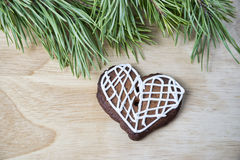 Gingerbread cookies with icing heart shaped Stock Photos