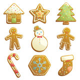 Gingerbread cookies icons Stock Photo