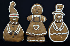 Gingerbread Cookies, isolated on Black Royalty Free Stock Photos
