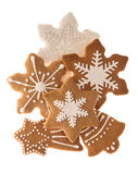 Gingerbread cookies isolated on white background Stock Photos