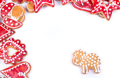 Gingerbread cookies with lamb. Gingerbread cookies and spices over white background close up christmas decoration Stock Photography