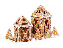 Gingerbread cookies lantern cottages Royalty Free Stock Photo