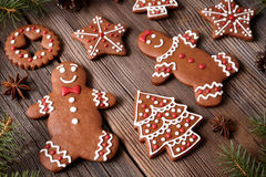 Gingerbread cookies man and woman couple christmas Stock Photos