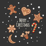 Gingerbread Cookies - Merry Christmas sign Stock Images