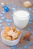 Gingerbread cookies and milk Royalty Free Stock Photo