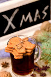 Gingerbread cookies and mulled wine Stock Photos
