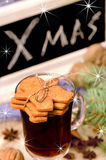 Gingerbread cookies and mulled wine Royalty Free Stock Image