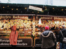 Gingerbread Cookies in Munich Christmas Market Royalty Free Stock Photos