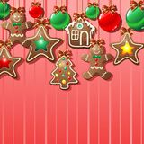 Gingerbread Cookies Ornamental Background. Gingerbread Cookies for Sweet Christmas Background Royalty Free Stock Photos