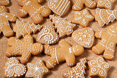 Gingerbread cookies over corky background Stock Photography