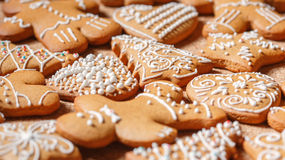 Gingerbread cookies over corky background Royalty Free Stock Photography