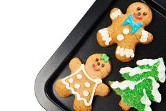 Gingerbread cookies on the pan Royalty Free Stock Photography