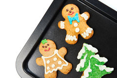 Gingerbread cookies on the pan Stock Images