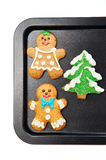 Gingerbread cookies on the pan Royalty Free Stock Images