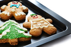 Gingerbread cookies on the pan Stock Photo