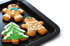 Gingerbread cookies on the pan Royalty Free Stock Image