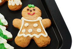 Gingerbread cookies on the pan Royalty Free Stock Photos