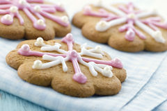 Gingerbread cookies with pink frosting Stock Photo