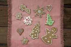 Gingerbread Cookies On Pink Place Mat Stock Image