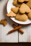 Gingerbread cookies on a plate royalty free stock image