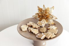 Gingerbread cookies on a plate with Christmas motifs Stock Image