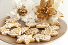 Gingerbread cookies on a plate with Christmas motifs Royalty Free Stock Images