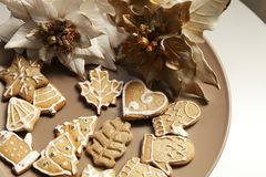 Gingerbread cookies on a plate with Christmas motifs Royalty Free Stock Photography
