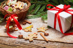 Gingerbread cookies in powdered sugar with cinnamon bark Stock Photo