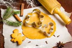 Gingerbread cookies preparation Stock Images