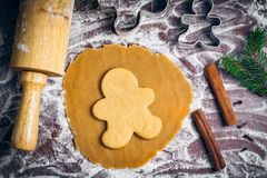 Gingerbread cookies preparation Royalty Free Stock Image