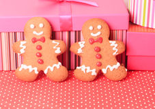 Gingerbread cookies and presents Royalty Free Stock Photos