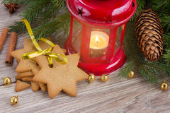 Gingerbread cookies  and red lantern Royalty Free Stock Image