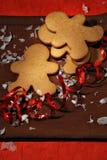 Gingerbread cookies ribbon royalty free stock photos