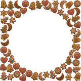 Gingerbread Cookies Round Frame Royalty Free Stock Images