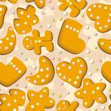 Gingerbread cookies seamless background stock illustration