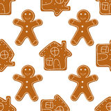 Gingerbread Cookies seamless Stock Images