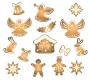 Gingerbread cookies and figurines for Christmas and New Year. Gingerbread and cookies set of figures for Christmas and New Year, homemade festive pastries Royalty Free Stock Images