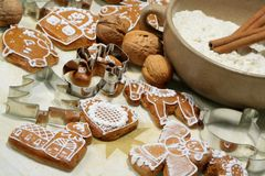 Gingerbread cookies and shape royalty free stock images