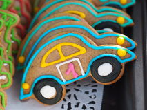 Gingerbread cookies in a shape of a car. Stock Image
