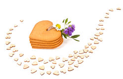 Gingerbread cookies in a shape of a heart Stock Photo