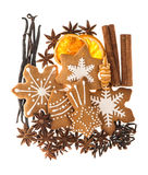 Gingerbread cookies and spices. christmas food ingredients Stock Image