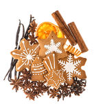 Gingerbread cookies and spices. christmas food ingredients Royalty Free Stock Photo
