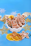 Gingerbread cookies and spices for christmas Royalty Free Stock Photos