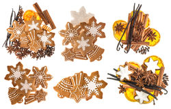 Gingerbread cookies and spices. Christmas sweet food ingredients Stock Photos