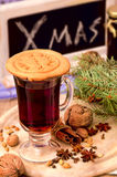 Gingerbread cookies, spices and mulled wine Stock Image